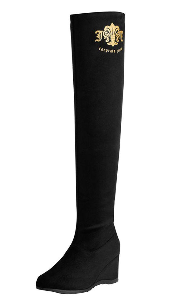 Xanyi Women's Casual Elastic Fleece Crystal Flat Over Knee Boot 35EU Black