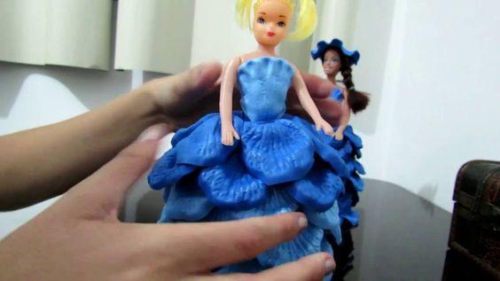 Boneca no pote, com EVA e vestido frisado