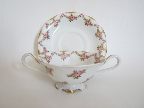 antique t v limoges bouillon broth cream soup cup and. Black Bedroom Furniture Sets. Home Design Ideas