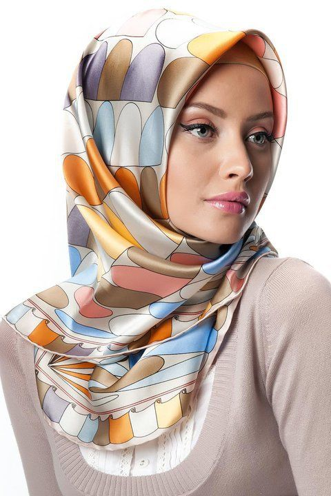 Off white Printed Silk Turkish Hijabs