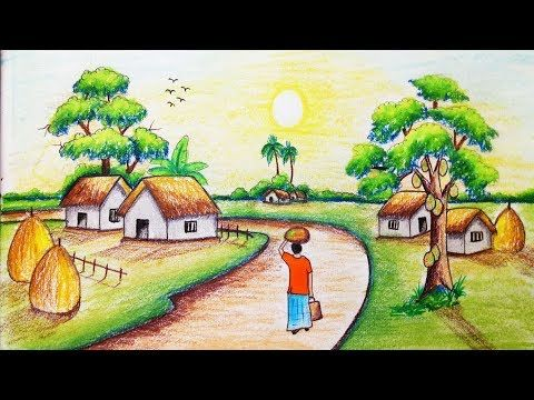 How To Draw Riverside Village Scenery Step By Step Easy Draw Youtube Village Drawing Art Drawings Simple Easy Drawings