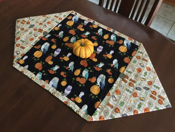 Halloween Table Runner 42 by 22 inches by FeathersAndFantasy