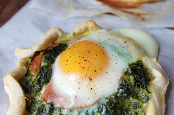 Spinach and baked egg.