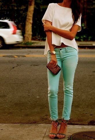 mint jeans: Colored Pants, Mint Jeans, White Top, Colored Jeans
