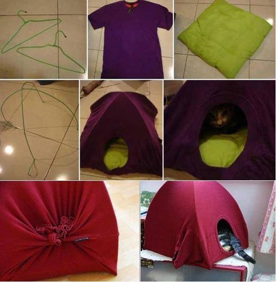 DIY kitty house using two hangers, an old t-shirt and a pillow.