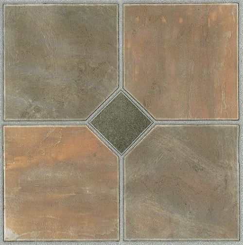 Rustic Slate Stone Self Stick Adhesive Vinyl Floor Tiles 100 Pcs 12 X 12 Vinyl Flooring Ideas Of Vinyl Flooring Vin Vinyl Flooring Tile Floor Vinyl Tile