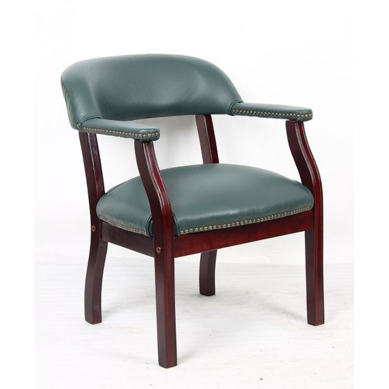 Baron Green Traditional Leather Wooden Chair