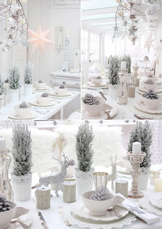 Blanc chic id es de d coration pour la table de no l deco noel pinterest pommes de pin - Decoration de table de noel blanche ...