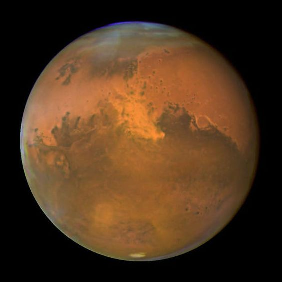 A photo of the planet Mars taken by the Hubble Space Telescope.