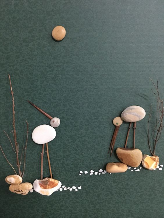 Pebble art birds by gülen: