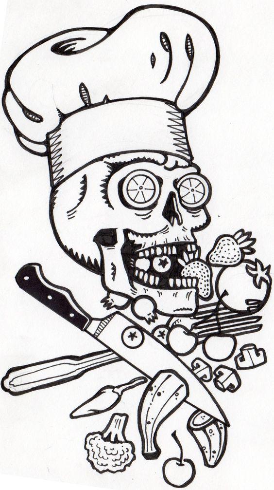 chef skull by tyler lewis goshen skulls pinterest sugar skull tattoos skulls and chefs. Black Bedroom Furniture Sets. Home Design Ideas