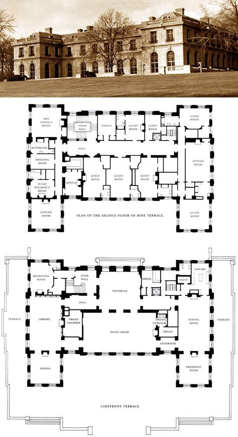 Trumbauer S Swan Song House Blueprints Vintage House Plans Mansion Plans