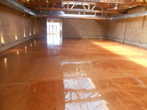 Metallic Epoxy Floor Modern Basement Chicago All American