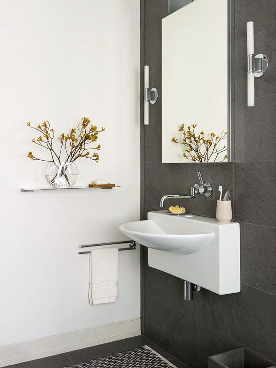 Vanities curves and cabinets on pinterest for Half bathroom designs small spaces