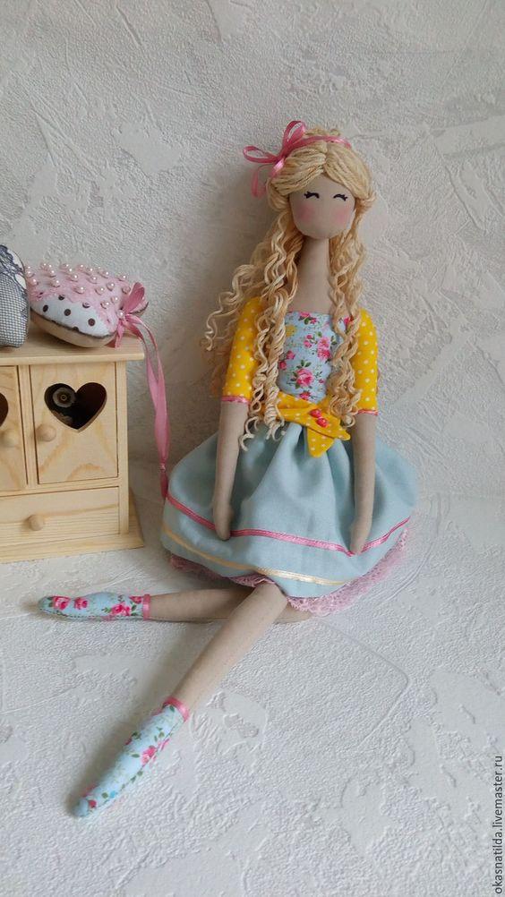 Купить Тильда Анночка - голубой, желтый, кукла Тильда, тильда кукла, текстильная кукла: