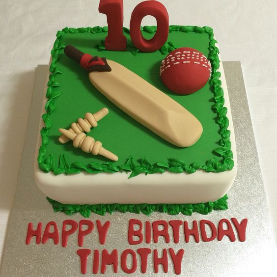 Cricket Bat Cake Images : A special birthday cake for a cricket lover. Complete with ...
