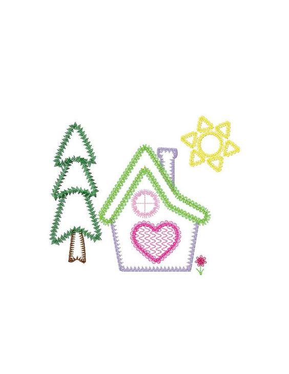 Home set applique machine embroidery design by VStitchDesigns.