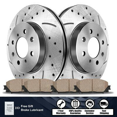 Front /& Rear Drill Slot Brake Rotors And Ceramic Pads For 2004 Pontiac GTO