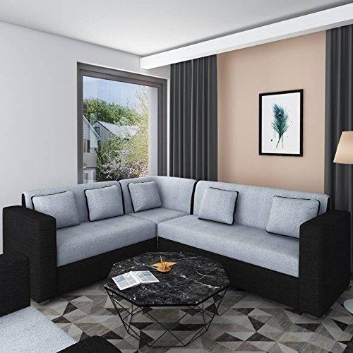 Insignia Cosmo Plus Fabric L Shape Acacia Wood Sofa 3 2 C Black Grey Buyatwebsite Callusnowon70732 Sofa Design L Shaped Living Room Layout Sofa Bed Design