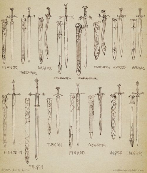 The swords of various Elves in the Silmarillion. [Have any of you read The Silmarillion?] I have!<3 it was fantastic: