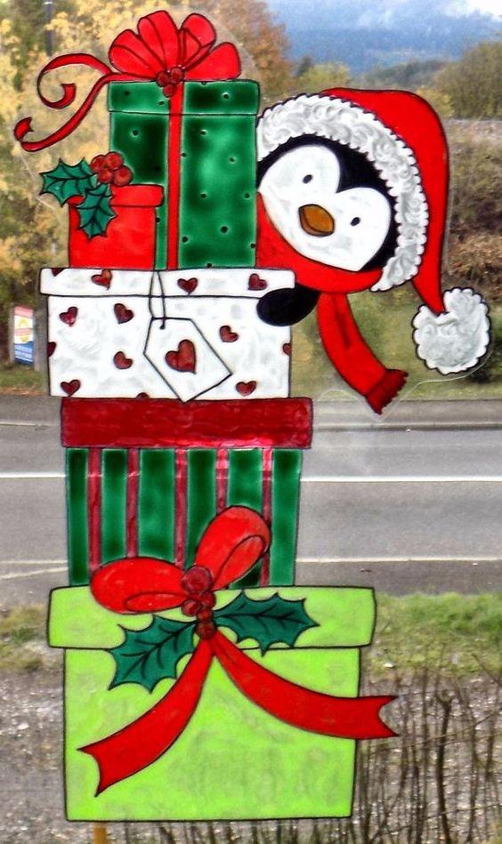 wicoart window color sticker static cling ooak noel christmas cadeaux pingouin - Windows Color Noel