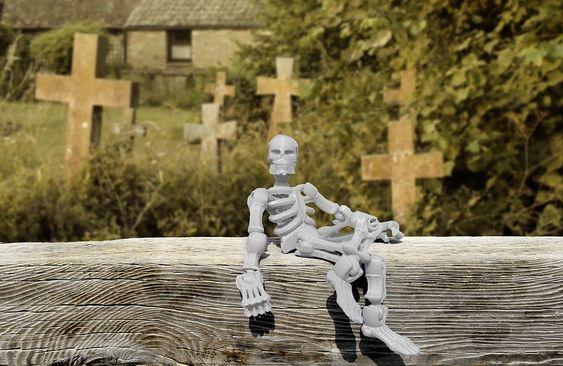 Esqueleto, Cementerio, Halloween, De Miedo, Horror
