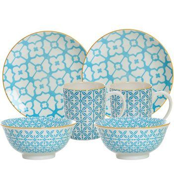 Ritzenhoff & Breker Frühstück-Set, blau, Porzellan, 6 Teile, »MAKINA«