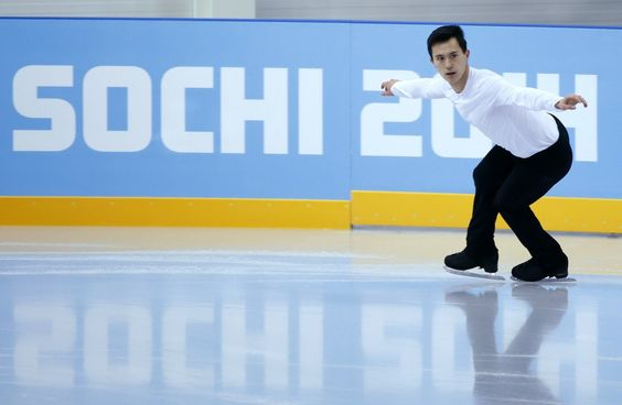 Chan of Canada attends a figure skating training session in preparation for the 2014 Sochi Winter Olympics
