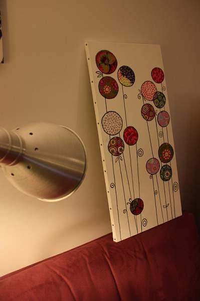 Tableau fleur en tissu dessin pinterest fait maison maison et google - Idee tableau fait maison ...