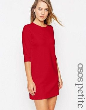 ASOS PETITE Shift Dress in Ponte with 3/4 Sleeves