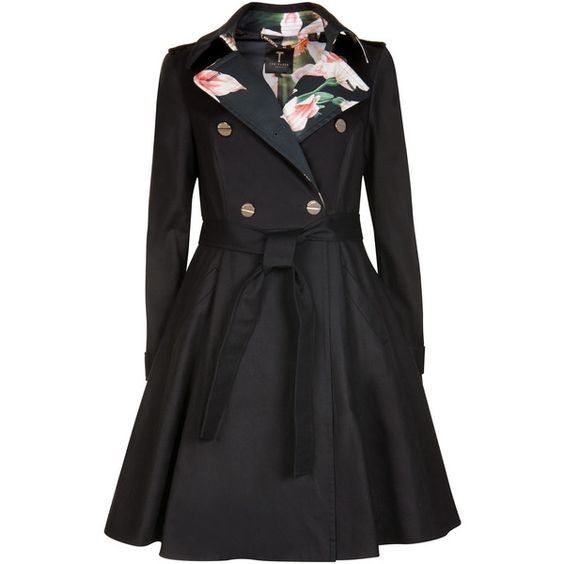 Ted Baker MCKENZY Flared skirt trench coat (3.855.655 IDR) ❤ liked on Polyvore featuring outerwear, coats, jackets, coats & jackets, black, metallic coat, ted baker, trench coat and ted baker coat