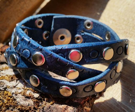 Handmade Evening Blue Leather Mystery Braid Cuff by LeatherVision