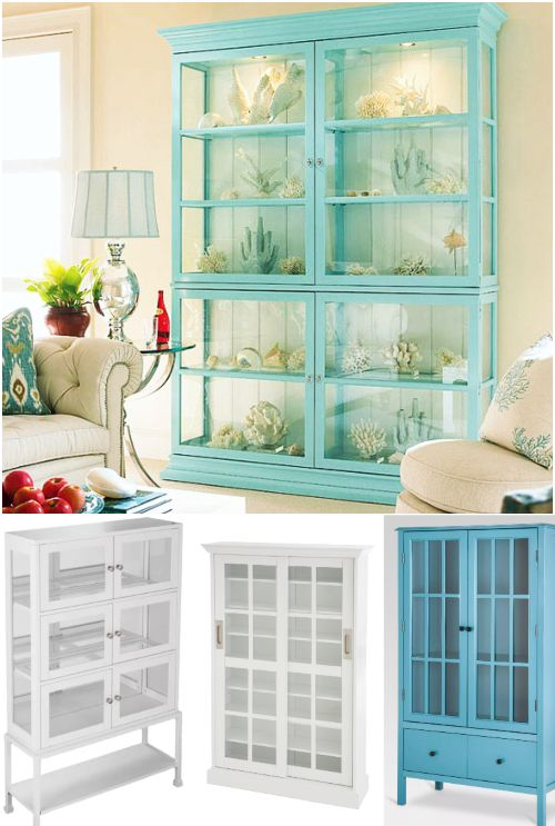 Glass Display Cabinets To Showcase Coastal Collections Decorative Accessories Glass Cabinets Display Home Furniture