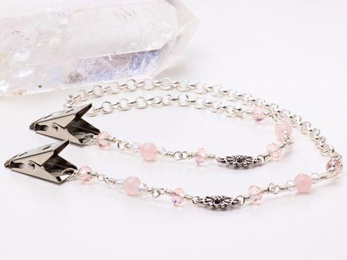 Rose quartz ornate link napkin chain