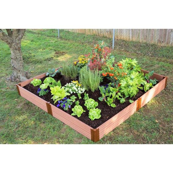 Frame It All 96 In W X 96 In L X 11 In H Brown Composite Raised Garden Bed 300001068 In 2020 Raised Garden Bed Kits Garden Bed Kits Raised Garden Beds