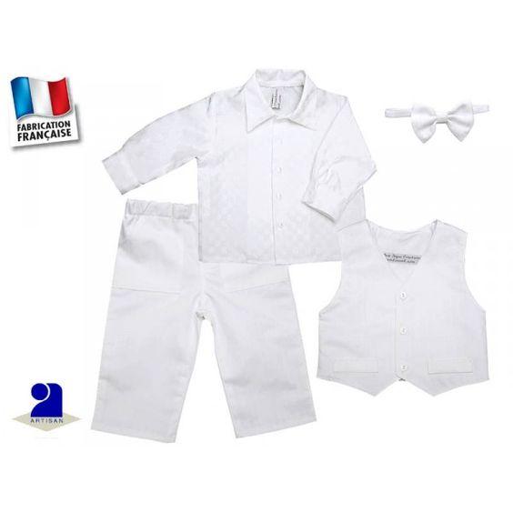 Costume blanc bébé en coton et lin pour un baptême ou un mariage Taille 9 mois Adorable costume blanc pour un garçon pour le jour de son baptême ou pour une cérémonie
