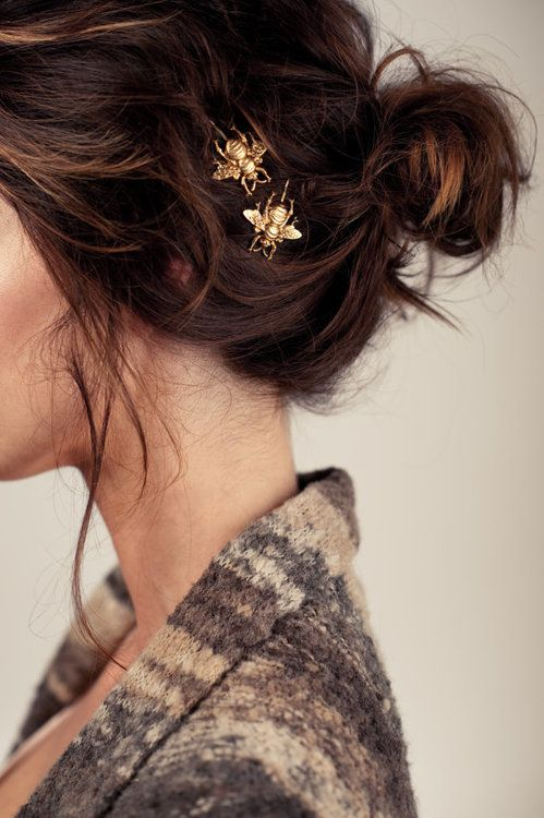 Messy bun + decorative bobby pins. Fresh and festive!