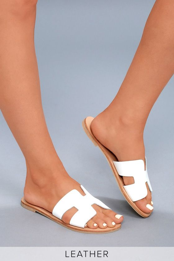 Greece White Leather Slide Sandals