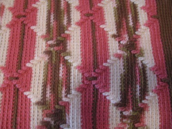 Crochet Afghan Pattern Variegated Yarn : Crocheted Afghan - Navajo Pattern Pink Camouflage ...