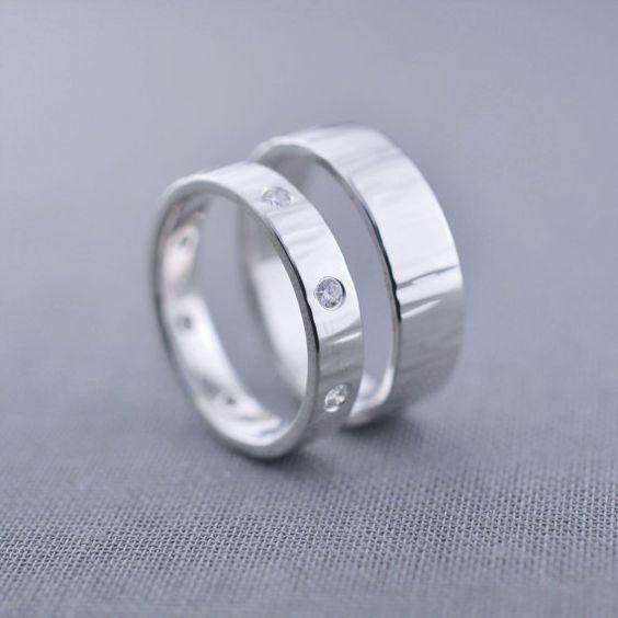 8 Diamond Ripple Textured Silver Wedding Ring by LilyEmmeJewelry
