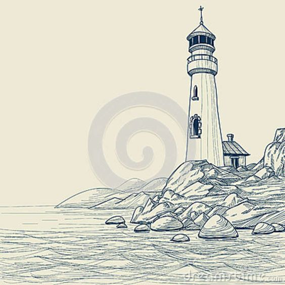 Light House Drawings Lighthouse Drawing Royalty Free