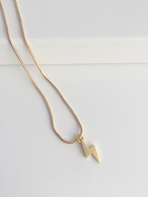 Gold lightening bolt necklace. Lightening bolt necklace. Gold dainty necklace. Everyday gold necklace. Simple gold necklace. Gift for her by LilyFloJewellery on Etsy