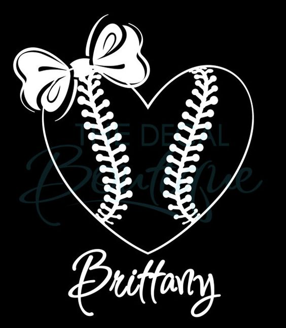 Softball Heart With Bow Car Decal Personalized Name