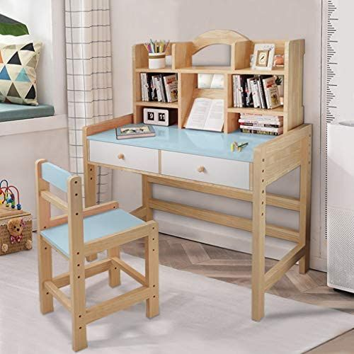 Children S Media Desk And Chair Set Student S Study Workstation Computer Desk Table Wooden In 2020 Desk And Chair Set Wooden Study Desk Desk With Drawers