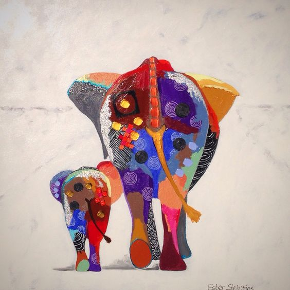 Mom Me Acrylic On Canvas Size 90x90cm Elephant Art