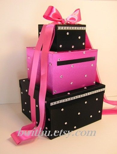 Wedding card box black and hot pink shocking pink gift for Awesome money box