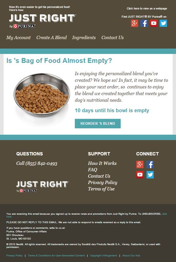 Just Right by Purina replenishment email 2015 automated emails