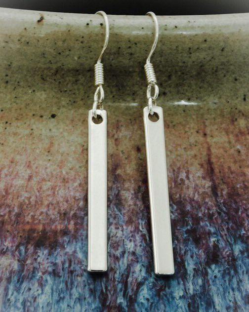 Four-Bars 925 Sterling Silver Dangle Drop Earrings