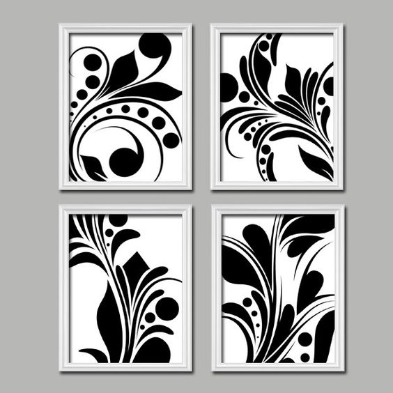 Bold swirl black white flourish design set of 4 abstract for Black and white mural prints