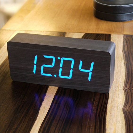 Slab Black Wood Alarm Clock by Gingko
